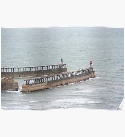 Twin breakwaters at Whitby harbour Poster