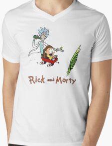 Calvin and Hobbes, Rick and Morty Mens V-Neck T-Shirt
