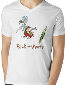 Calvin and Hobbes, Rick and Morty Mens V-Neck T-Shirt