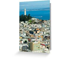Coit Tower and downtown Greeting Card