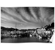 Padstow Skies in Black and White Poster