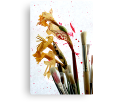 An Artist's Garden - Paints and Flowers Photograph Canvas Print