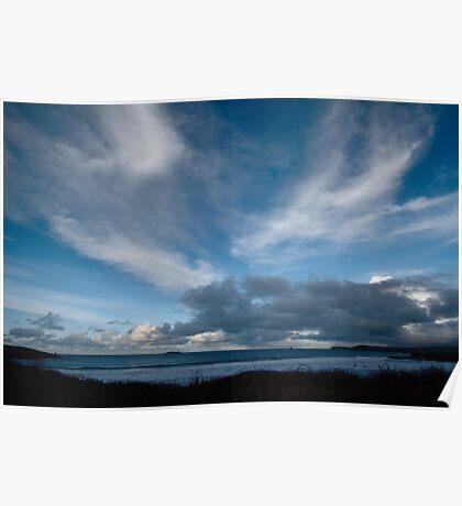 Blue Sea and Sky - Harlyn Bay, Cornwall Poster