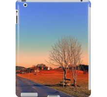 Country road, trees, a bench and a sundown   landscape photography iPad Case/Skin
