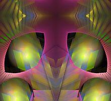 Aliën eyes, fractal mixed media art by walstraasart