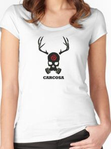 True Detective - Carcosa Gas Mask - Black Women's Fitted Scoop T-Shirt