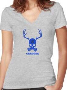 True Detective - Carcosa Gas Mask - Blue Women's Fitted V-Neck T-Shirt