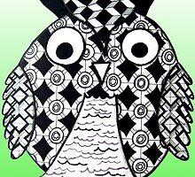 Radiant Green Zentangle Owl by AlyssaKayArt
