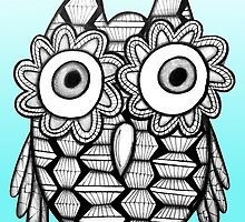 Bright Blue Zentangle Owl by AlyssaKayArt