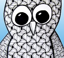 Wide-Eyed Blue Zentangle Owl by AlyssaKayArt