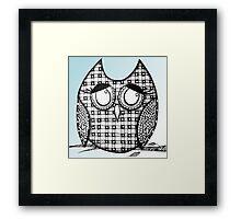 Sky Blue Zentangle Owl Framed Print