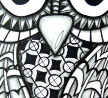 Blue-Green Zentangle Owl Sticker