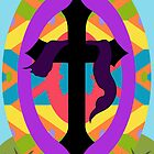 Happy Easter Egg and Cross by Terri Chandler
