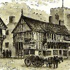 A digital painting of Old Lamb Row, Chester, prior to 1821 by Dennis Melling