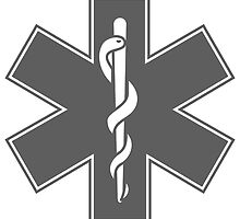 Ambulance Black and White Star of Life by pdgraphics