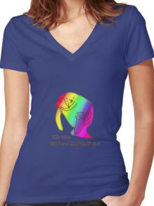 Oh the Hue-Manatee Women's Fitted V-Neck T-Shirt