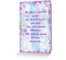 John 3:16. Water Color.  Greeting Card