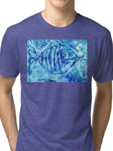 The Blue Fish Monoprint with Collage Tri-blend T-Shirt