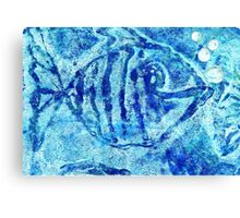 The Blue Fish Monoprint with Collage Canvas Print