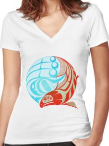 Circling Salmon Women's Fitted V-Neck T-Shirt