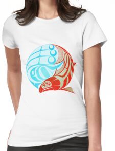 Circling Salmon Womens Fitted T-Shirt