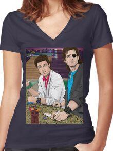 Jack Burton & Snake Plissken Women's Fitted V-Neck T-Shirt