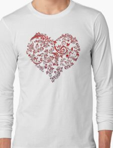 vintage red heart heart and flowers T-Shirt