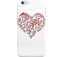 vintage red heart heart and flowers iPhone Case/Skin