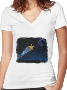 Eagle Shooting star Women's Fitted V-Neck T-Shirt