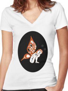 Butterfly Girl Women's Fitted V-Neck T-Shirt