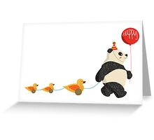 Cute Panda and Ducks Greeting Card