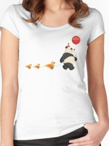 Cute Panda and Ducks Women's Fitted Scoop T-Shirt