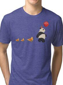 Cute Panda and Ducks Tri-blend T-Shirt