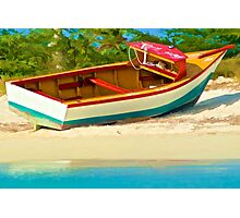 Beached Fishing Boat of the Caribbean Photographic Print