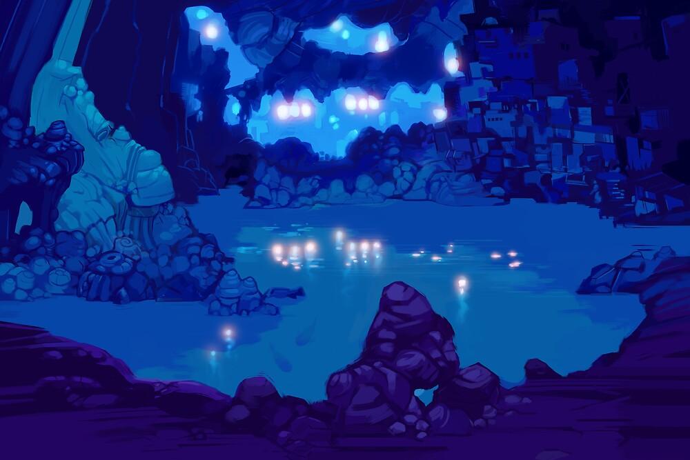 Wyndia: Plummet Caverns Location Painting by dpaint4