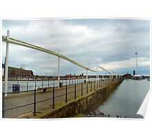 Seawall and promenade at Whitehaven harbour Poster