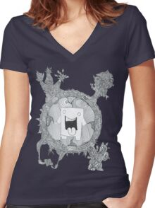 trippy domo  Women's Fitted V-Neck T-Shirt