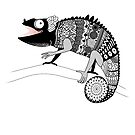 graphic ornamental chameleon by Tanor