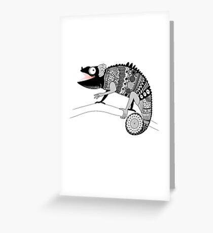 graphic ornamental chameleon Greeting Card