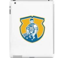 Mechanic Holding Spanner Wrench Toolbox Crest Retro iPad Case/Skin