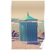 Vintage retro striped beach tent marquee on shingle pebbles Poster