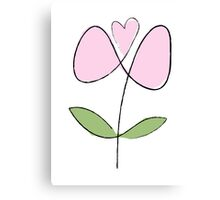 Simple line flower - pink Canvas Print