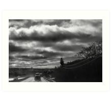 Morning Road With Dramatic Sky  Art Print