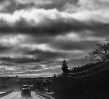 Morning Road With Dramatic Sky  by murrstevens