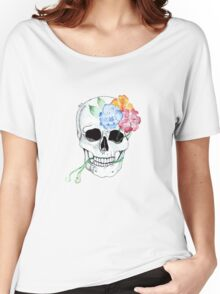 flowers entwining with skull  Women's Relaxed Fit T-Shirt