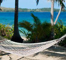 Empty hammock at a tropical beach by photoeverywhere