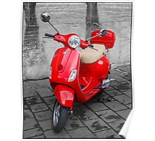 Red Vespa - Scooter Poster