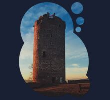 The tower of Waxenberg castle in the sunset | architectural photography Kids Clothes