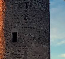 The tower of Waxenberg castle in the sunset | architectural photography Sticker