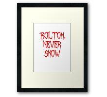 Bolton Never Snow Framed Print